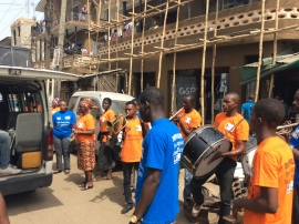 The Musical Band  at the Market Outreach in Oyingbo, with Project Manager, Morenike Omaiboje and WOCONs Legal Officer, Edith Atiti
