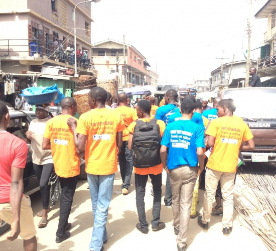 WOCONs Team dancing round Oyingbo Market at the Market Outreach